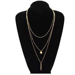 Rhodium Plated Coins Wholesale NZ - Women Fashion Jewelry Colar European Simple Gold Silver Plated Multi Layers Bar Coin Necklace Clavicle Chains