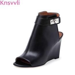 5ac664513073 Knsvvli black wedge heels ankle boots women open toe shark lock folder  summer boots woman slingback leather shoes fashion