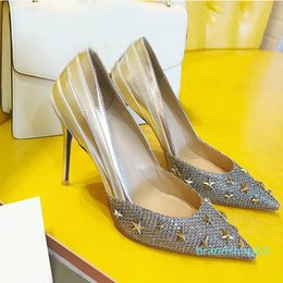 dancing stars shoes Australia - NEW Designer women high heels party fashion rivets girls sexy pointed shoes Dance wedding shoes Red bottom high heels star pumps