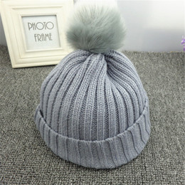 white crochet beret hat NZ - Autumn and winter candy color crochet hat child girl boy wool hair ball mother women baby children warm fashion sports knit hat