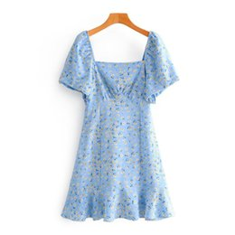 flower print pleated dress Canada - New 2020 Women Vintage Square Collar Flower Print Pleats Mini Dress Female Puff Sleeve Back Elastic Vestidos Chic Dresses