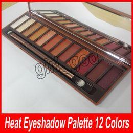 Professional 12 Colors Eyeshadow Makeup Palette Canada - New Heat Eyeshadow Palette 12 Colors Professional Makeup Eyeshadow Palette With Makeup Brushes Make up set