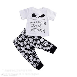 $enCountryForm.capitalKeyWord Australia - Newborn Baby Boys Clothing Toddler T-shirt Pants 2pcs Set Skull Heads Outfit Infant Boutique Casual Clothes Kids Costume Children Pajamas