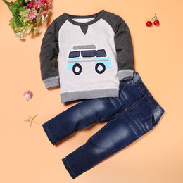 boy cars t shirts 2019 - Car Print T-shirt Tops Toddler Boys Outfit winter Clothes boutique kids clothing +Long Jeans Trousers 1Set toddler Cloth