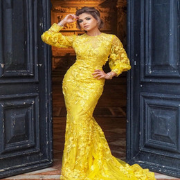 White Dress Sleeves Red Carpet Australia - Elegant Yellow Lace Mermaid Evening Dress with Long Sleeves Appliques Celebrity Red Carpet Dress Long Formal Prom Party Gowns