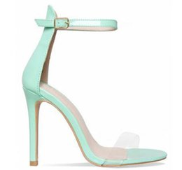 silver tie back hooks UK - Hot Sale- new Pink Gold Red Patent Leather Women Pumps Open Toe Ankle Buckle Strap Women Sandals Clear PVC High Heels Women Shoes