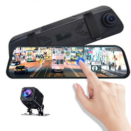"mirror video recorder Canada - 10"" big touch screen car DVR mirror stream media dashcam rearview video recorder front 170° rear 140° wide angle night vision G-sensor"