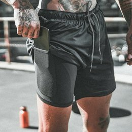 Wholesale skinny black man shorts for sale – denim 2019 hot fashion Men s Sports Training Bodybuilding Summer Shorts Workout Fitness GYM Short Pants A