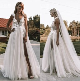 7a1307f1063 2019 New Princess berta Wedding Dresses V Neck Sleeveless Lace Bridal Gowns  Front Split Beach Lace Tulle Wedding Dress Cheap