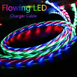 flowing light usb 2019 - LED Light Up Flowing Flashing Visible USB C Type-C Charger Cable Charging Cord for Micro USB 2.0 Cable