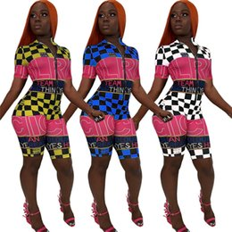 $enCountryForm.capitalKeyWord Australia - Women Jumpsuits & Rompers gym short sleeve lapel neck zipper plaid print letter bodycon leggings shorts racing summer clothing plus size 722