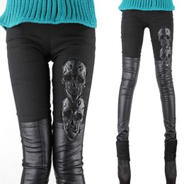 bf22bd6925c84 Plus Size Patterned Leggings NZ - New Queen Style Hi-q Skinny Skull Pattern  Leather