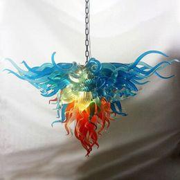 $enCountryForm.capitalKeyWord Australia - Hot Sale Colorful Art Decor Flower Italy Designer Fancy Hand Blown Murano Glass Chandelier Modern Festival LED Pendant Light Fixtures