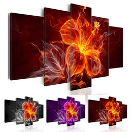 Abstract Pictures Office Walls Australia - 5 Pcs No Framed Wall Art Paintings Prints Flame Flower Wall Art Picture Canvas Paintings Wall Decorations For Living Room Home Office Artwor