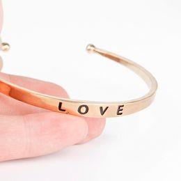 $enCountryForm.capitalKeyWord Australia - LOVE Letter Bracelets Simple Round Bangles Metal Bracelet Women Casual Jewelry bangle Valentine's day gifts