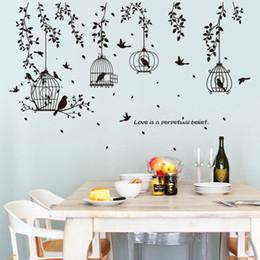 $enCountryForm.capitalKeyWord Australia - Black Birdcage Leaves Silhouette Wall Stickers Home Decor Flying Birds Door Sticker Plants PVC Wallpaper Window Art Mural Poster