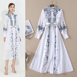 Wholesale long shirts dresses online – Australian Tide brand new white embroidery high quality long Sleeve shirt dress