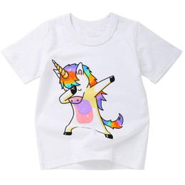 cute baby white t shirt UK - Wholesale- Cute animal Print Colorful Baby Kids Clothes Short Sleeve Pullover Summer T-shirt for Children's Day Gift