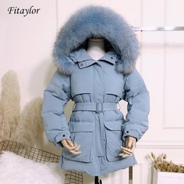 $enCountryForm.capitalKeyWord Australia - Fitaylor Winter Women Slim Jackets White Duck Down Large Natural Raccoon Fur Hooded Parkas Female With Belt Short Snow Outwear