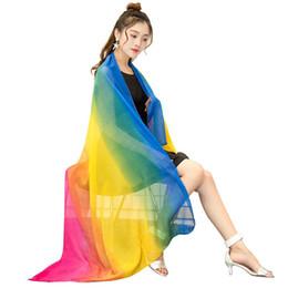 $enCountryForm.capitalKeyWord UK - Fashion Woman Long Rainbow Gradient Silk Scarf Summer Spring Sunscreen Shawl Sexy Beach Bikini Shawl Swimwear Cover Ups Scarf