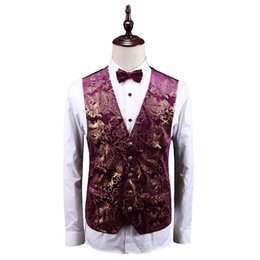 $enCountryForm.capitalKeyWord Australia - noble Men Vest Asian Size S - 5XL vest men high quality vests waistcoat Red & Gold