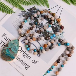 $enCountryForm.capitalKeyWord NZ - Women's Fashion Handmade Boho Necklace Mix Natural Stones Big Teardrop Pendant Necklace Lariat Beads Knotted Bohemia Necklace J190610