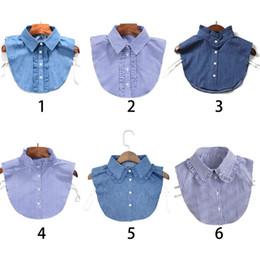 74fba173955598 Women New Fashion Stripe Denim Lace Collar Shirt Fake Collar Tie Vintage  Detachable False Lapel Blouse Top Women