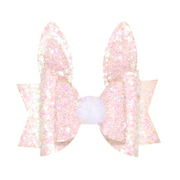 Kids Hair Clips Wholesale Handmade UK - Girls Children Princess Glitter Rabbit Ears Hair Bows Clips Handmade Hair Pins Cute Kids Headdress Girl Child Accessories
