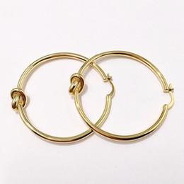 Copper Earrings Australia - New Big Circle Hoop Earrings For Women Bohemian Bridal Party Jewelry Gold Copper twist knot Earrings Wedding Jewelry Fashion Accessories 4cm