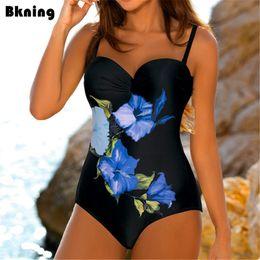 Xxl Swimsuit Women Australia - Flower One Piece Swimsuit Female Fused Swimwear Trikini Woman Push Up Plus Bathing Suit One-piece Large Size For Badpak Xxl Q190513