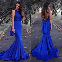 Royal Dresses Trumpet Australia - Sexy Backless Mermaid Prom Dresses Long New 2019 Royal Blue trumpet Formal Evening Gowns Sleeveless Swee Train Cheap Plus Size Custom Made