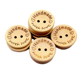 $enCountryForm.capitalKeyWord Australia - 100 Pcs New Handmade with Love Button Round Shape Natural Wooden Buttons for Sewing Scrapbooking and DIY Crafting Decoration
