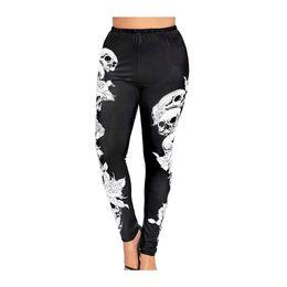 $enCountryForm.capitalKeyWord Australia - Kenancy 2019 New Skull Print Leggings Women Plus Size High Rise Capri Leggings Female Casual Bace Tight Pants