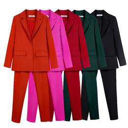 $enCountryForm.capitalKeyWord NZ - Work Suits Ol 2 Piece For Women Business Interview Set Uniform Smil Blazer And Pencil Pant Office Lady Suit J190716