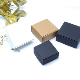 kraft jewelry gift boxes UK - White Black Brown Kraft Craft Paper Boxes Small Gift Box for Biscuits Handmade Soap Jewelry Wedding Party Candy Packaging Box