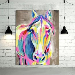$enCountryForm.capitalKeyWord Australia - Colorful Horse,High Quality Hand-painted   HD Print Modern Cartoon Animals Art Oil Painting,Home Wall Decor On Canvas Multi sizes C017