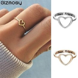 Discount heart shaped rings rose gold - GIZMOSY Best Friend New Fashion Rose Gold Color Heart Shaped Wedding Ring for Woman CE0616