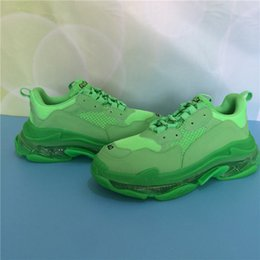 sports shoes green sole NZ - A2020 Paris Triple S Clear Sole Green White Crystal Bottom Mens Designer Low Platform Sneakers Vintage Women Sports Luxury Dad Casual shoes