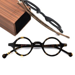 Small wooden frameS online shopping - Hand Made Vintage Small Round Eyeglasses Men Women Compute Optical Glasses Frames Acetate wooden Brand Top Quality With Box A916