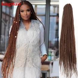 $enCountryForm.capitalKeyWord NZ - 30 Inch Box Braids Crochet Hair Extensions Ombre Brown Kanekalon Fiber Synthetic Braiding Hair Bulk Crochet Braids 20Roots Pack