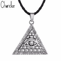$enCountryForm.capitalKeyWord Australia - whole saleChandler Egyptian Egypt Pyramid All-Seeing Evil Eye Illuminati Antique Silver Charm Pendant Necklace For Men Boys Fashion Bijoux