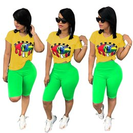 Wholesale Big Bow Shirt Australia - Women Big Eye Print Tracksuit T-Shirt + Shorts Pants 2pcs Set Summer Sport Suit Ladies 2 Pieces Outfits Sportswear Sexy Clothes S-3XL A32802