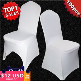 wedding covers Australia - 100 PCS Universal White Stretch Polyester Wedding Party Spandex Chair Covers for Weddings Banquet Hotel Decoration Decor
