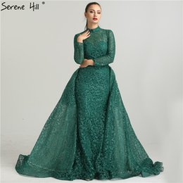 9ede01bab2dd0 Fashion Mermaid Luxury Glitter Wine Red Evening Dress Long Sleeves Gliter  with train Evening Gowns 2019 Serene Hill