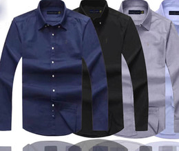 Wholesale mens casual polo shirts for sale – custom Mens Designer Dress Shirts High Quality Business Polo Shirt Pony Embroidery Brand White Shirt Ralph Luxury Lauren Men Shirts