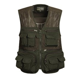 photographers multi pocketed waistcoat vest Canada - Men Summer Fishing Vest Mesh Breathable 100%Cotton Multi Pockets Photographer Travel Sleeveless Waistcoat Male CYF130