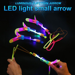 $enCountryForm.capitalKeyWord NZ - 3PCS SET LED Light Arrow Rocket Rotating Flying Toys Outdoor Flashing Fly Helicopter Children Funny slingshot AN88