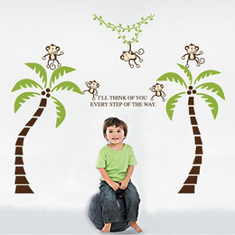 $enCountryForm.capitalKeyWord Australia - Monkey Coconut Tree 2pcs Wall Stickers Art Decals Mural DIY Wallpaper for Room Decal 60 * 90cm