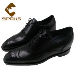 $enCountryForm.capitalKeyWord NZ - Sipriks Genuine Leather Black Brogue Shoes For Men Height Increasing Shoes Retro Keep Warm Wool Italian Goodyear Big size