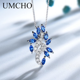 $enCountryForm.capitalKeyWord Australia - Umcho Real 925 Sterling Silver Necklacecreated Blue Sapphire Necklaces & Pendants For Women Gift With Box Chain Fine Jewelry T190702